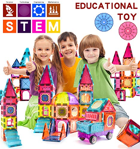 AvoKlan Magnetic Tiles, 92 Piece Magnetic Building Blocks for Kids, 3D Toddler Magnets Toy Set- Upgraded Version with Magnetic Car, STEM Educational Gift for Boys Girls Age 3 4 5 6 7 8+ Years Old+