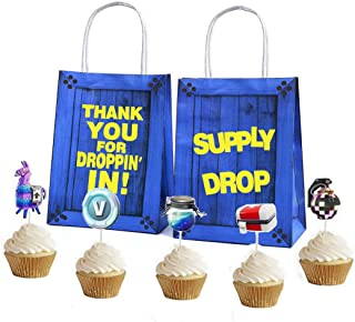 16Pcs Party Gift Bags+24 Cupcake Toppers Favor Kids Birthday Gaming Bag Fortnight Game Theme Pack Supplies