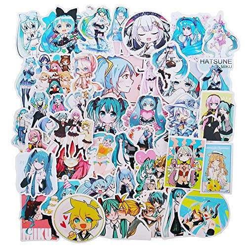 Hatsune Miku Stickers 50-Pcs, Japanese Anime VSCO Decals for Laptop Water Bottle Guitar Travel Case iPhone iPad Xbox Luggage Bike, Waterproof Sun Protection Vinyl Graffiti Sticker for Kids Teens Girls