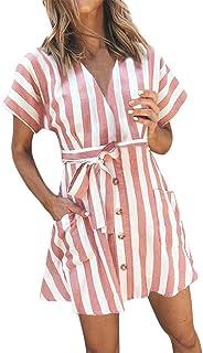 Lloopyting Vestido de Mujer Suelto de Manga Corta con Cuello en V y Bolsillo a Rayas en la Parte Superior de la Rodilla, Vestido de Fiesta para Mujer con cinturón a Rayas y botón