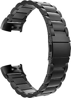 ATiC Fitbit Charge3 バンド フィットビット 交換用ベルト ステンレス 調節可能 脱着簡単 高級 耐久 black
