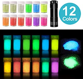 12 Colors Glow in The Dark Powder with UV Lamp, Skin Safe Epoxy Resin Luminous Pigment for Nail Polish, Slime, Acrylic Paint, 240g in Shake Jars