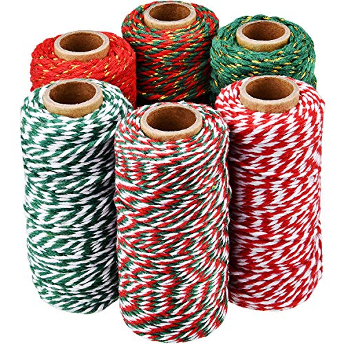 6 Rolls Christmas Twine Gift Wrapping Cord Bakers Twine Rope for Packing Arts Crafts Garden Decoration Supplies, 6 Colors