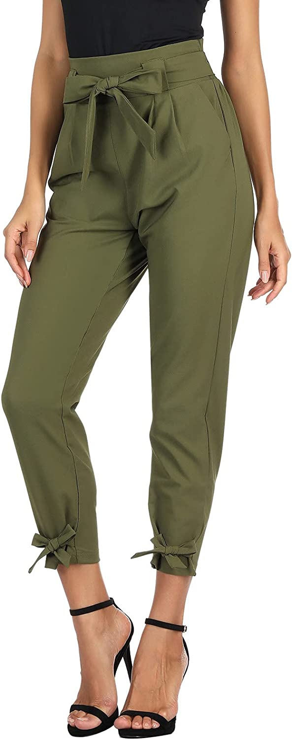 LIUMILAC Women Casual Cropped Pants Solid High Waist Dressy Pants with Pockets Bow-Knot