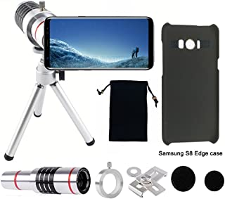 Elecguru Phone Camera Lens, 18x Universal Optical Cell Phone Lens Kit with Tripod and Phone Holder,2pcs Black Cases for Samsung Galaxy S8 Edge(Gift)