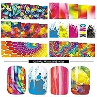 12デザインネイルステッカーラップ透かしチップ蝶花水転写デカールセット夏カラフルなデザインスライダーSABN109-120