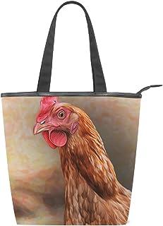 alaza Tote Leinwand Umhängetasche Zeichnung Brown-Huhn-Handtasche