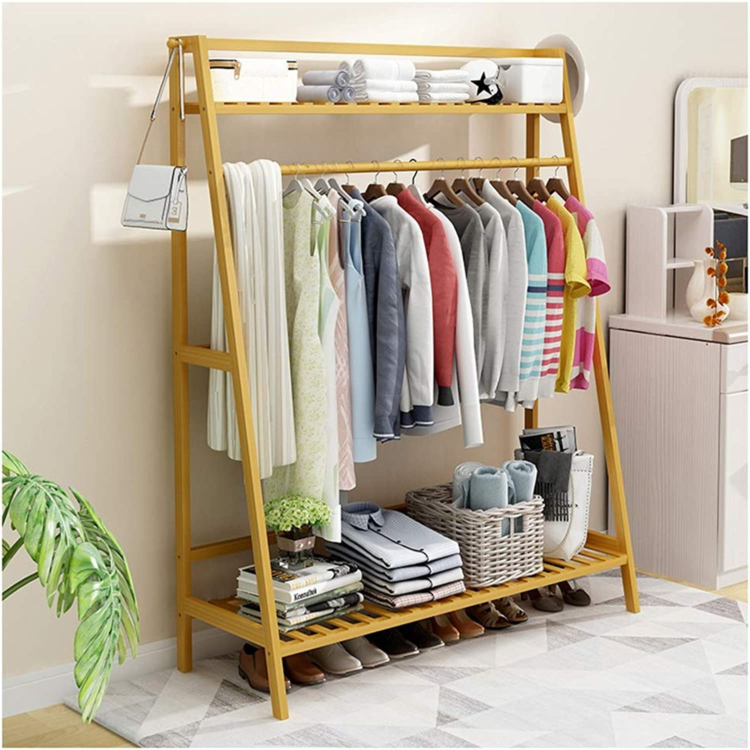 WEIBING-4 Standing Coat Rack High 140CM Bamboo color Shelf Hall Trees Entryway Coat Stand Clothes Rack Bedroom Living Room Clothes Hat Scarf Umbrella Stand Coat Racks (Size   100CM)