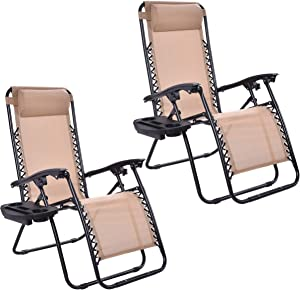 HAPPYGRILL 2pcs Chairs Set, Relaxing Lounge Patio Folding Recliner Outdoor Yard Beach with Cup Holder, Beige