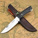 NedFoss Cuchillo de caza con funda de piel, cuchillo de exterior en diseño de espejo, cuchillo de supervivencia D2 con mango de ébano, extra afilado (Corrector Xiaoli)