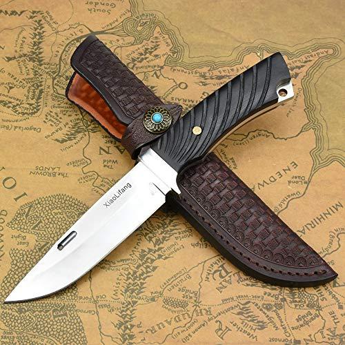 NedFoss Jagdmesser mit Leder Holster, Outdoor-Messer in Spiegel Design, D2 Survival Messermit Ebenholzgriff,Extra scharf (Xiaolifang)