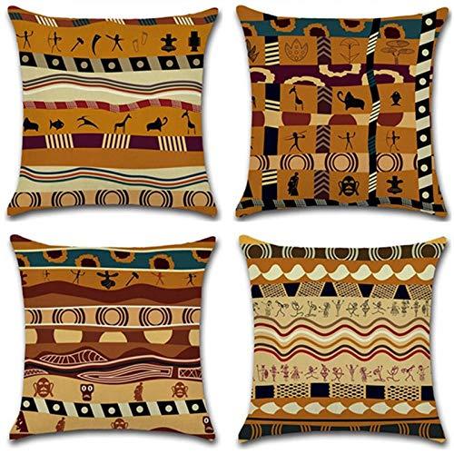 4 Stück Dekorative kissen afrikanisch Stil Kissenbezug Kissen-Hülle Leinen-Baumwoll Sofakissen Dekokissen Kopfkissen Kissen Bezug Braun 45x45cm