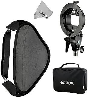Fomito Godox Pro Floading Adjustable 80cm x 80cm Flash Soft Box Kit with S-Type Bracket Bowen Mount Holder for Camera Studio Photography