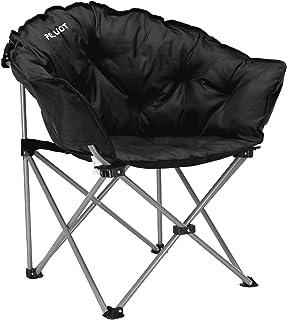 PELLIOT Silla Plegable al Aire Libre Silla de Camping Portátil con Respaldo Plegable Sillas de Playa de Viaje Silla Plegable Redonda
