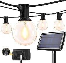 Gluckluz Decoration Lights Solar Outdoor Waterproof Fairy Lighting Garden G40 Bulb String Light Indoor USB Rechargeable Ha...