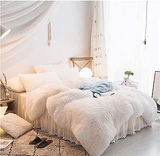 MooWoo 4PCS Shaggy Bedding Sets, 1 Velvet Flannel Duvet Cover + 1 Quilted Ruffle Bed Sheet Skirt + 2 Pompoms Fringe Pillow Sham, Zipper Closure Velvet Bedding Sets (White, Full)