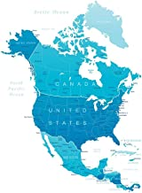 Detailed Map of North America United States Canada Mexico Reference Cool Wall Decor Art Print Poster 24x36