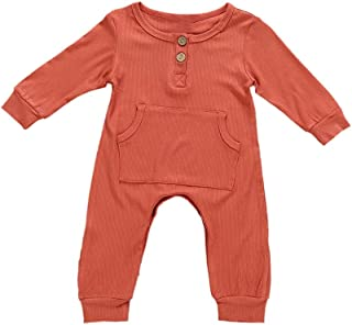 Weixinbuy Toddler Baby Boy's Girls Pyjama Sleepwear Solid Color Long Sleeve Crewneck Romper Bodysuit Clothes