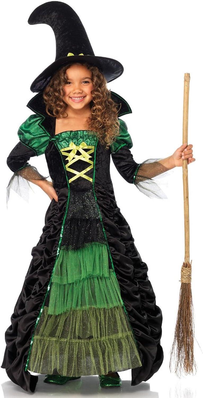 Krause & Sohn Kinderkostüm Hexe Kleid Gr. 128 grün schwarz Hexenhut Karneval Zauberin Vampir Hexenkleid (8-9 Jahre)