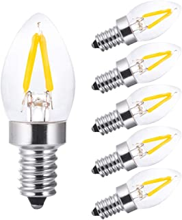 led Night Light Bulbs,Salt Lamp Bulbs,C7 1W Led Filament Bulbs,Refrigerator Indicator Bulb, Mini Light,Candle Bulbs,10W Incandescent Replacement Bulb,Torpedo Shape,E12 Warm White 2700k(6PCS)