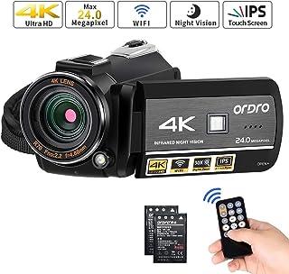 Videocámara ORDRO 4K Ultra HD con Grabación de Video 4K Videocámara WiFi de Cámara de Video 1080P 60FPS con Visión Nocturna por Infrarrojos Pantalla Táctil 3.1IPS con Control Remoto