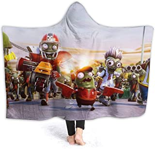 Spring Hooded Blankets for Boys Girls, PVZ 2 Garden Warfare Game Poster Wearable Blankets for New Year, Bed, Better Relaxing, Lightweight Soft Hooded Throw Poncho
