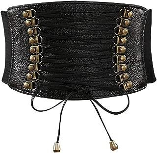 Womens PU Leather High Waist Cincher Belt Elastic Waits Band Corsets for Wide Stretch Belts