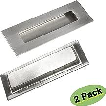 Homdiy Flush Pulls Rectangle Brushed Nickel Square Cabinet Pulls HD018 Recessed Sliding Door Handles Sliding Pocketdoor Finger Pulls 6in x 2in 2 Pack