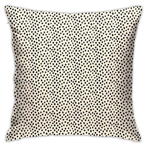 Funda de cojín, diseño de lunares negros en color crema, para sofá, dormitorio, oficina, decoración de almohada, multicolor 45 x 45 cm