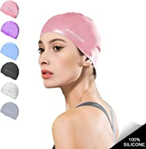 Msicyness Swim Caps for Men Women Silicone Stretchy Swimming Pool Water Hats Unisex Adult Youth Size