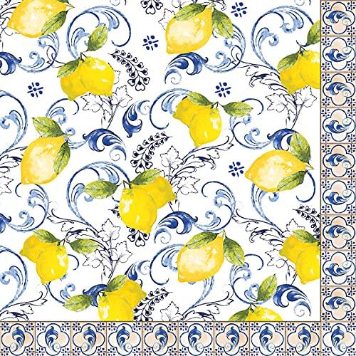 Servilletas de papel desechables Lemon Garden, 20 unidades, 3 capas, 33 x 33 cm