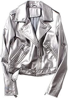 Womens Short Parka Coat Leather Biker Silver Motorcycle Zipper Jackets Outerwear,Silver,S