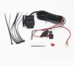 JMY Motorcycle USB GPS Phone Charger Waterproof Car Boat 2.1A Dual Mobile Port Power Supply Socket Cellphone Charging Adapter Built-in Fuse Mounting Bracket & 3M Adhesive Tape & Cable Tie