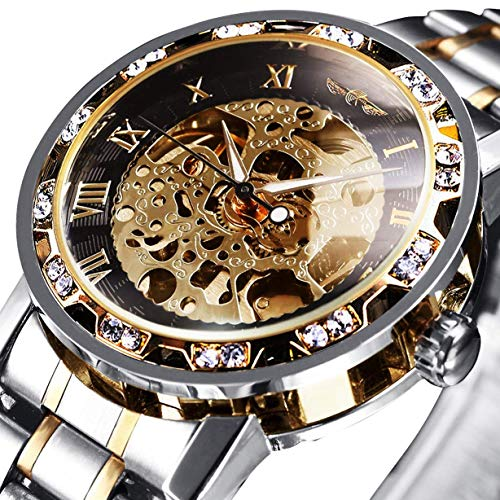 Watches, Men's Watches Mechanical Skeleton Classic Fashion Stainless Steel Self-Winding Waterproof Steampunk Dress Watch Gold