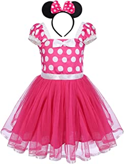 Baby Girls Polka Dots Minnie Birthday Princess Tutu Dress Halloween Carnival Outfits+ Bowknot Headband