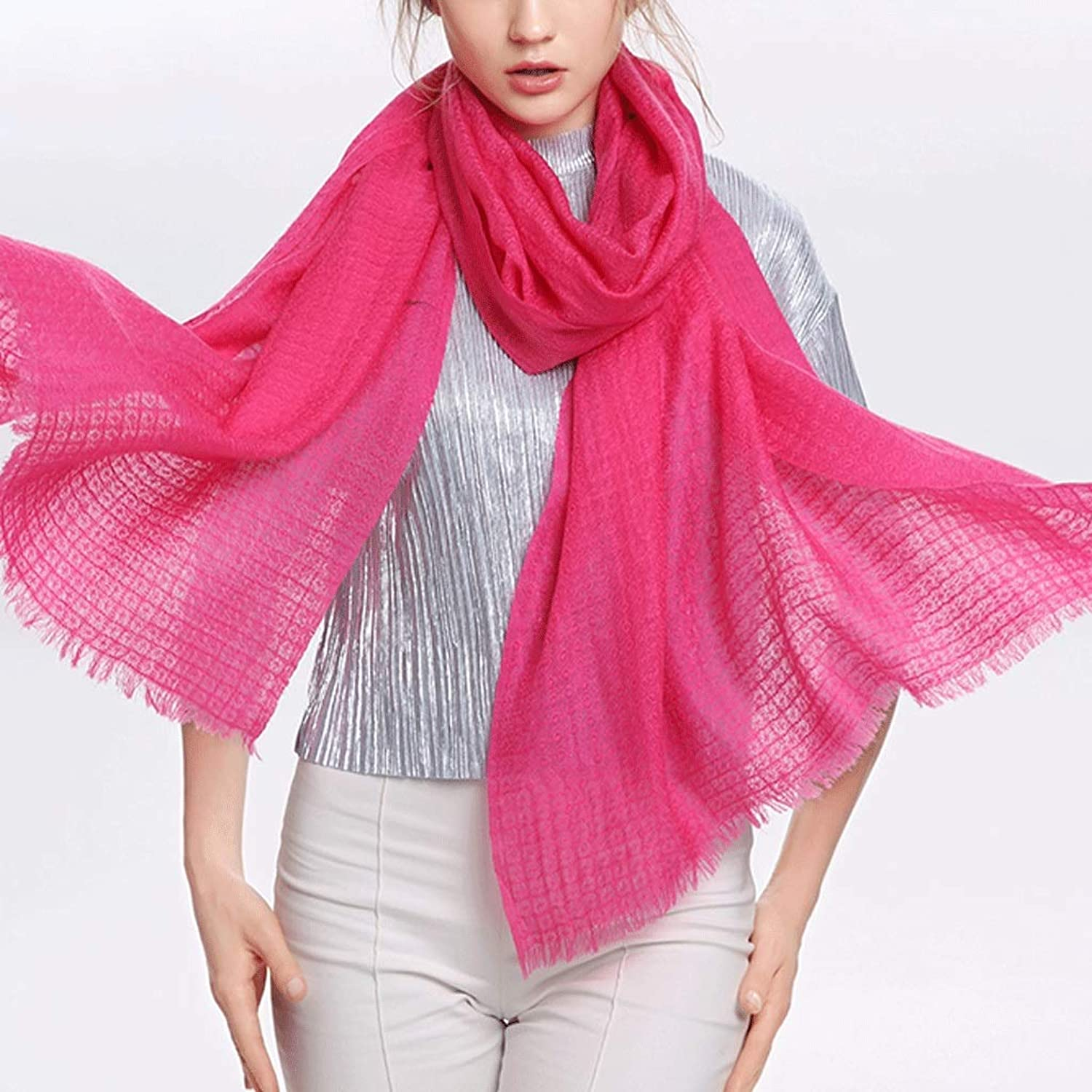 CCF Scarf 200cm×70cm Woman Thin Section Soft Fluffy Shawl Gift Box V (color   pink Red)