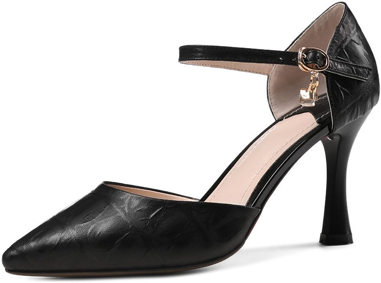 Nine Seven Genuine Leather Women's Pointy Toe Sexy Stiletto D'orsay Elegant Handmade Dress Pumps shoes