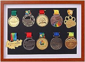 J&X medaillenhouder, race bib medaillen-display vitrine met houten frame, medaillenframe voor of loopmedaille oorlogmedail...