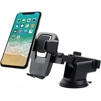 COBALTX Dashboard//Windshield Car Phone Mount with Leather Accent Pad with One-Touch Design Holder for iPhone X 8 7 7s 6 6s 5 5s Plus Samsung Galaxy S5 S6 S7 S8 Edge Google Nexus LG Huawei More