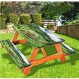 LEWIS FRANKLIN Cortina de ducha balinesa mesa de picnic y banco, mantel ajustable tradicional, estilo rural agricultura, mantel ajustable, 70 x 72 pulgadas, juego de 3 piezas para mesa plegable