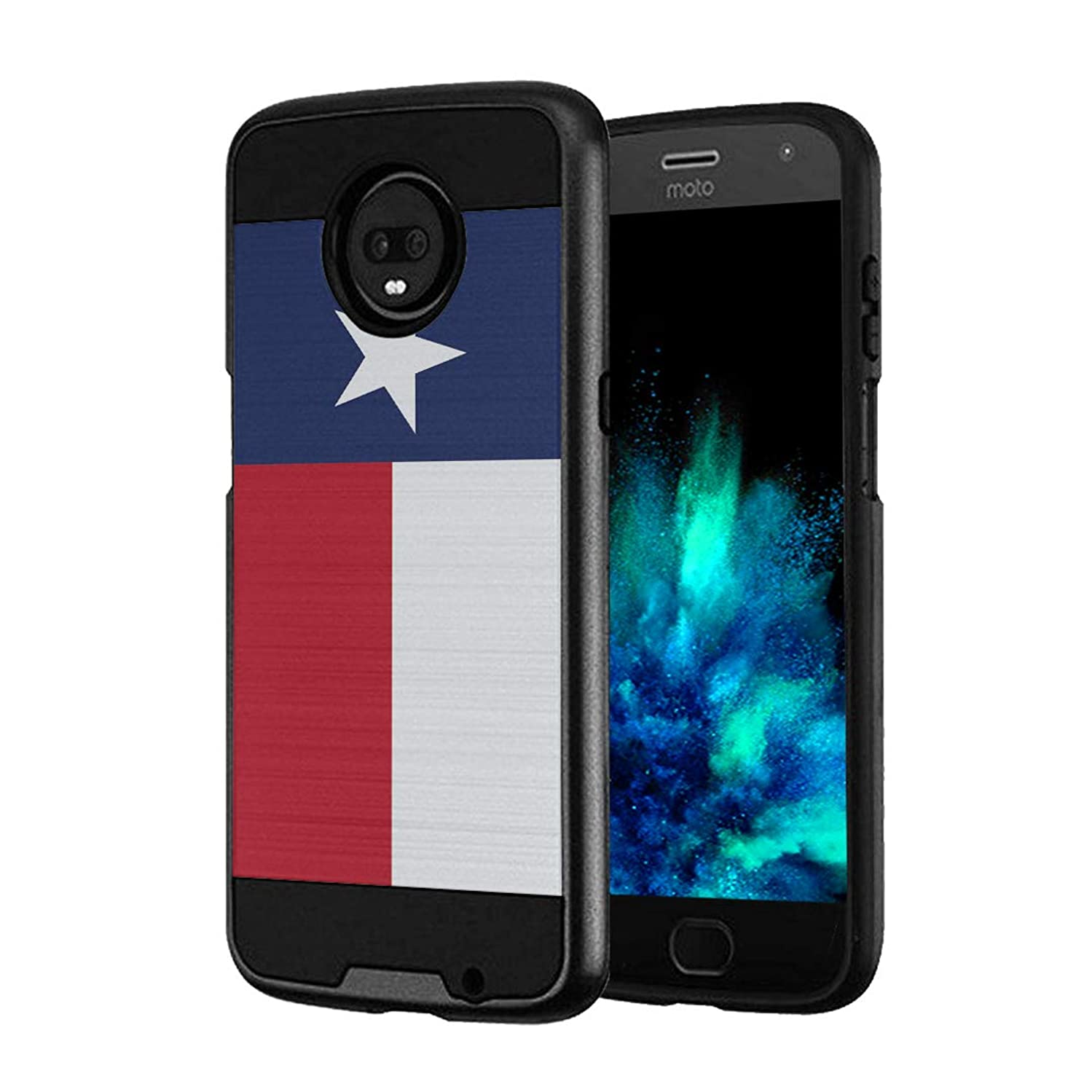 Capsule Case Compatible with Moto Z3, Moto Z3 Play (2018) [Hybrid Fusion Dual Layer Slick Armor Case Black] for Motorola Moto Z3 - (Texas Flag)