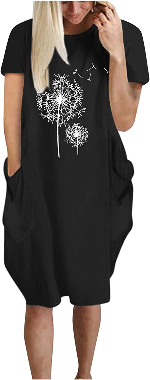 Sinifer Women's Oversize Baggy Short Sleeve Midi T Shirt Tops Dress with Pockets