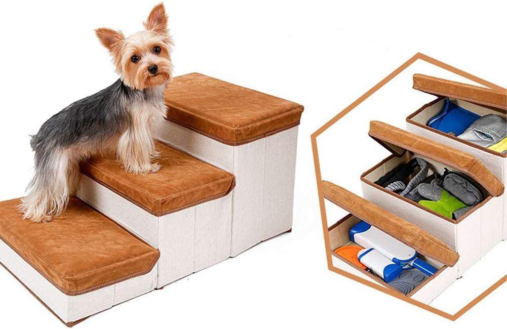 Escaleras para Perros para Subir a La Cama, Escaleras para Perros Livianas con Compartimento De Almacenamiento Interno, Rampa para Mascotas De Franela Suave Y Elástica
