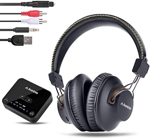 Avantree HT4189 Wireless Headphones for TV Watching with Bluetooth Transmitter (Digital OPTICAL AUX RCA PC USB), Wireless Hearing Headset 40 Hours Battery, Plug n Play, No Audio Delay, 100ft Range product image