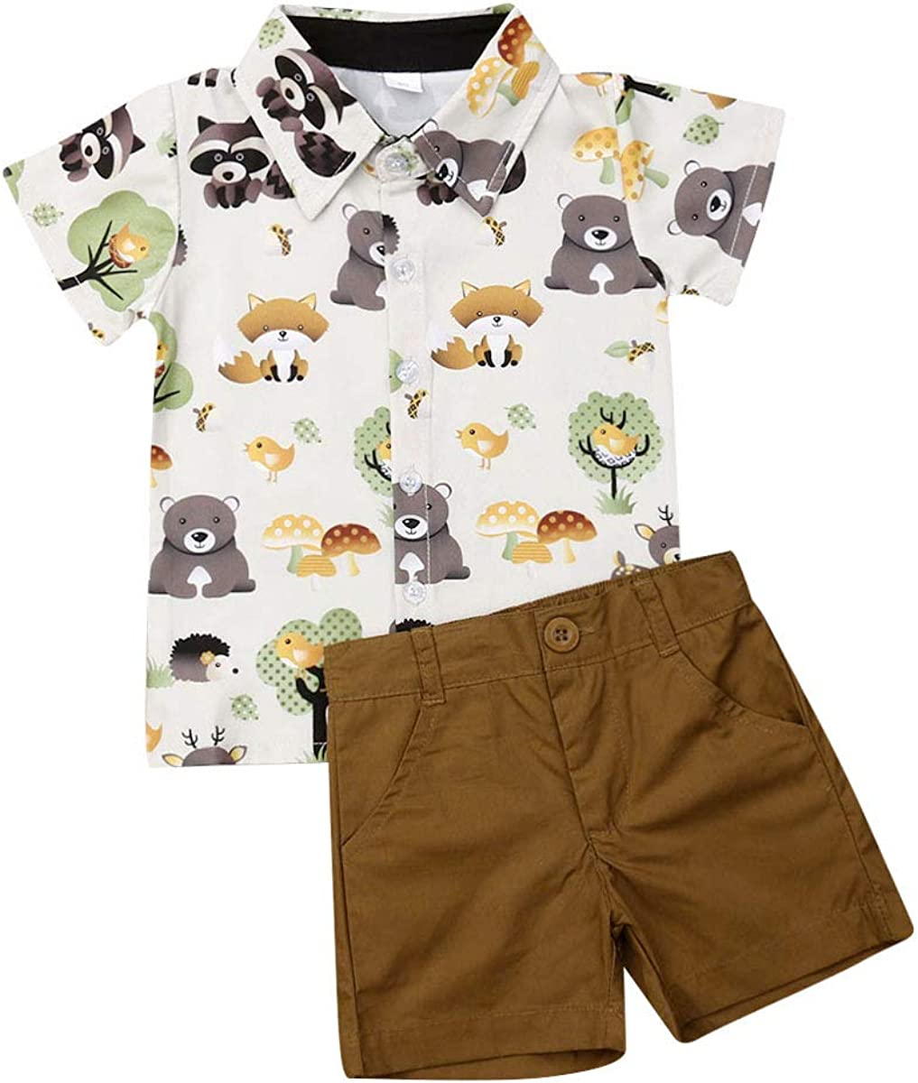 Toddler Baby Boy Summer Clothes 2PCS Set Cartoon Animals Printed Short Sleeve Lapel Collar Button Down Shirt Solid Colour Brown Short Pants for 1-6 Years