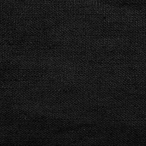 Tela de lino natural - 100% lino puro - Gran textura de lino - 20 colores - Por metro (Negro)