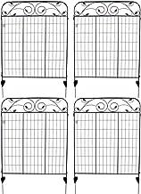 MTB Black Coated Steel Decorative Garden Fence Panel 8 Leaves, 44 x 36-inch (Pkg of 4, Linear Length 12 feet) Metal Border...