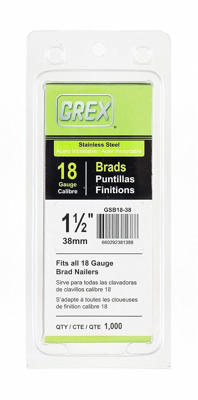 Grex Power Tools GSB18-38 18 Gauge Stainless Steel 1-1/2-Inch Length Brad Nails (1,000 per Pack), 1-1/2