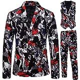 DAY8 Abiti Uomo Vestito Uomo Completo Elegante Slim Fit Taglie Forti Invernale Cerimonia 3 Pezzi Cappotto Giacca Blazer + Gilet + Pantaloni Set per Affari Casual Etnico Vintage (Nero, XL)