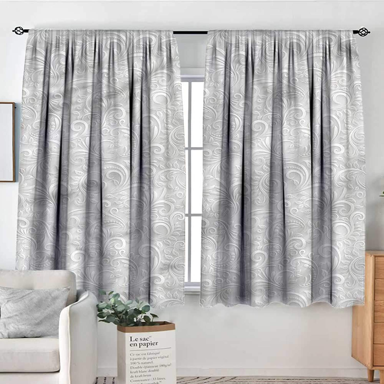 Sanring Grey,Indo Panes Drapes Curly Retro Floral Design 42 X72  Kids Backout Curtains for Bedroom